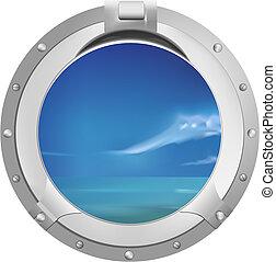 statek, okno