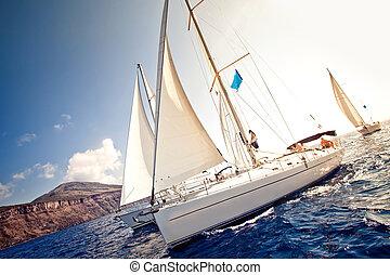 statek, płynie, jachty, nawigacja, biały