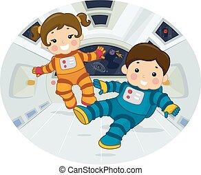 statek, pływak, astronauta, dzieciaki