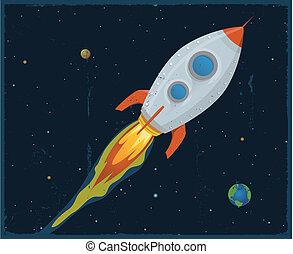 statek, przez, strzałowy, rakieta, przestrzeń