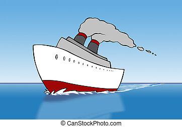 statek, rysunek, rejs