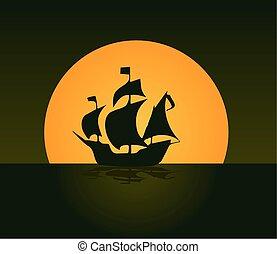 statek, sylwetka