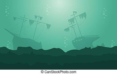 statek, sylwetka, krajobraz, morze, piękno