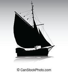 statek, sylwetka, nawigacja