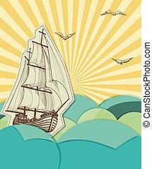 statek, tło, nawigacja, morze, retro