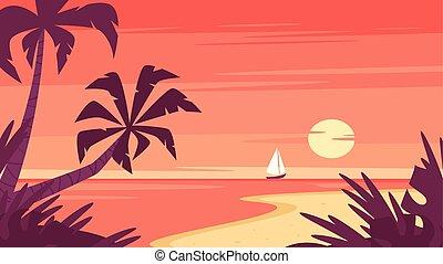 statek, wschód słońca