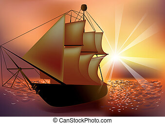 statek, zachód słońca