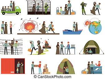 stateless, immigrants, vector, illigal, víctimas, refugees, guerra, set., ilustraciones