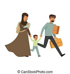 stateless, poco, concepto, escapar, familia , refugiado, ilustración, su, vector, víctimas, niños, guerra