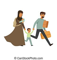 Stateless refugee family escaping from war with their little kids, war victims concept vector Illustration isolated on a white background