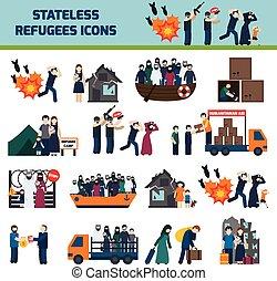 stateless, refugees, icone