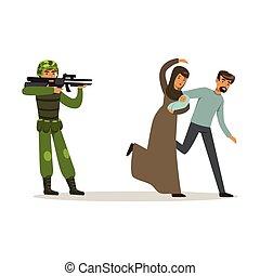 stateless, vector, familia , escapar, guerra, refugiado, pareja, ilustración