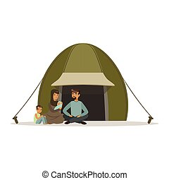 stateless, vector, familia , refugees, vida, refugiado, ilustración, campo, ayuda, social