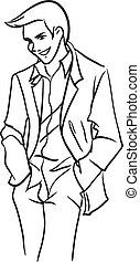 stately bridegroom in a light jacket - The vector image with...