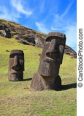 Stately Moai on Easter Island - Half buried moai on Easter...
