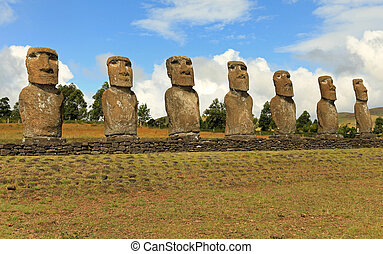 Stately Moai on Easter Island - Seven moai on Easter Island...