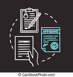 Statement chalk RGB color concept icon. Common law protocol. Official document. Affidavit, testimony. Legal contract. Notary service idea. Vector isolated chalkboard illustration on black background