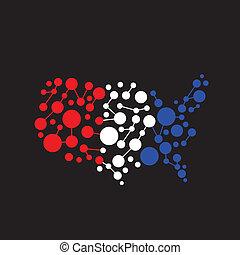 staten, abstract, punt, verenigd, map., lijn