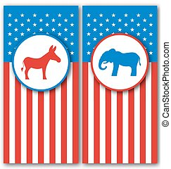 staten, ezel, verenigd, usa., elefant, politiek, symbolen, partijen, stem, banieren