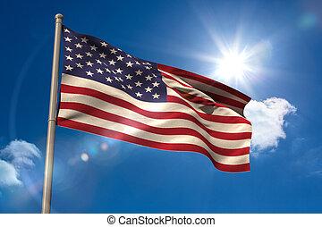 staten, flagpole, verenigd, amerika, vlag, nationale