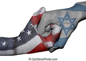 staten, handdruk, verenigd, israël, tussen