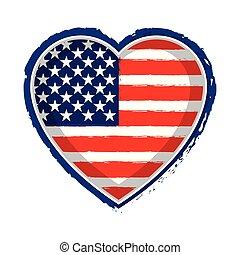 staten, hart, vlag, verenigd, gevormd