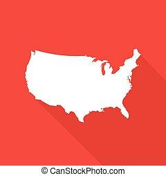 staten, kaart, amerika, verenigd, illustratie