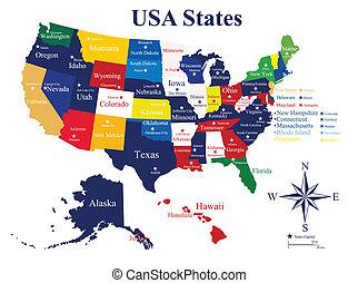 staten, kaart, steden, usa, hoofdstad