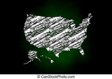 staten, kaart, stijl, verenigd, krijt