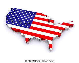staten, kaart, verenigd, 3d