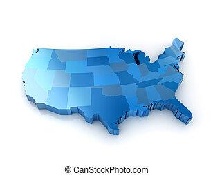 staten, kaart, verenigd, amerika, 3d