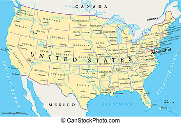 staten, kaart, verenigd, amerika