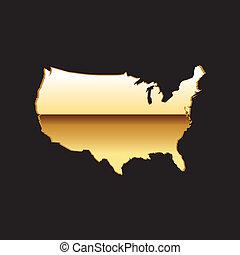 staten, kaart, verenigd, goud