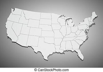 staten, kaart, verenigd, grijs