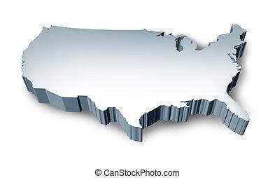 staten, kaart, verenigd, leeg, 3d