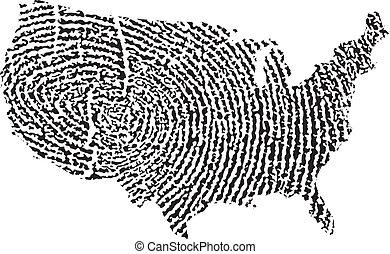 staten, kaart, verenigd, vingerafdruk