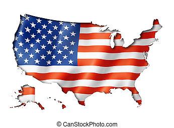 staten, kaart, vlag, verenigd