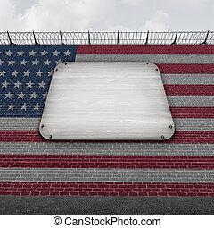 staten, muur, verenigd, leeg teken