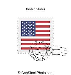 staten, porto, vlag, verenigd, stamp.