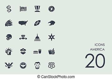 staten, set, verenigd, iconen