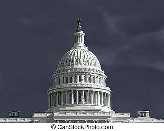 staten, verenigd, capitool, onweer