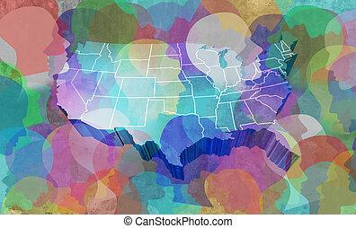 staten, verenigd, mensen