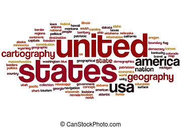 staten, verenigd, woord, wolk