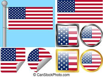 staten, vlag, verenigd, set