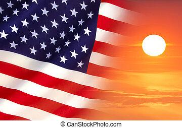 staten, vlag, verenigd, zonopkomst