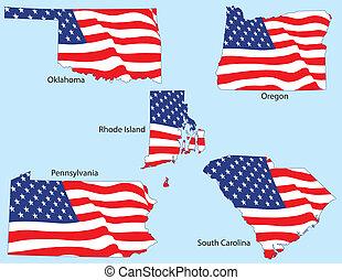 staten, vlaggen, vijf