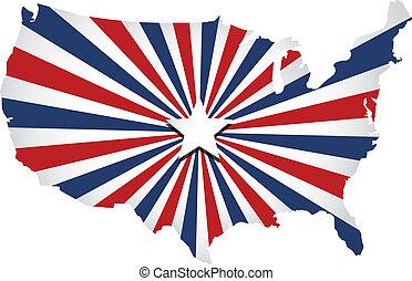 staten, zonnestraal, verenigd, vector, map.