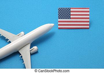 states., aeroplano, unito, viaggio