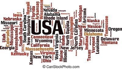 States in USA word cloud concept. Vector illustration