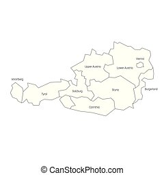 States of Austria. Map of regional country administrative divisions. Colorful vector illustration
